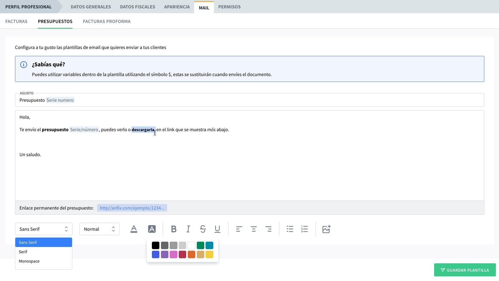 Nuevo: plantillas de email personalizadas
