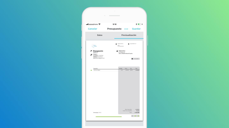 Cómo crear presupuestos desde tu móvil y convertirlos en facturas con un solo clic